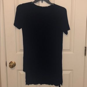 High low asymmetrical navy ribbed tshirt dress